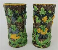 "English majolica pair of 6"" spill vases"