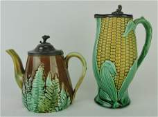 Majolica pewter top corn syrup