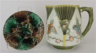Wedgwood majolica bird and fan
