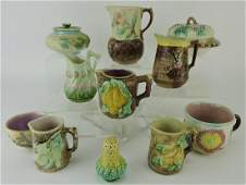 Majolica lot of 11 pitchers cups butter