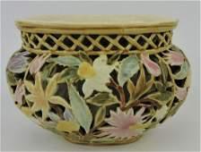 Zsolnay reticulated flower vase,