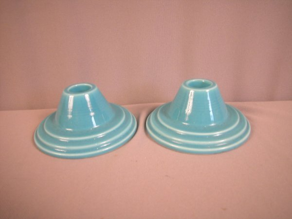 2096: Fiesta Harlequin turquoise pair of candle holders