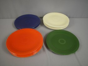 "Fiesta 9"" Plate Group - 2 Cobalt, 4 Ivory, 4 Red"