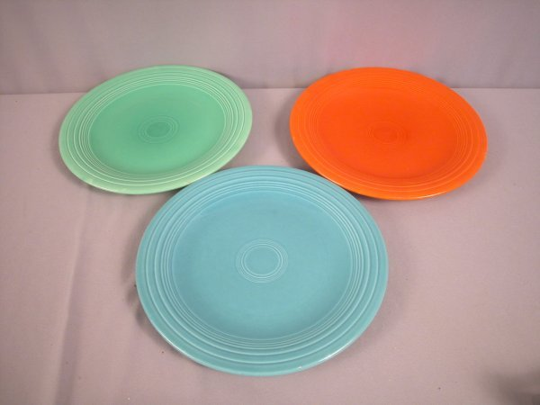"""2204: Fiesta 10"""" plate group, red, turquoise, and light"""