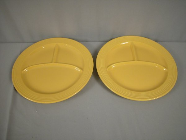 """2212: Fiesta 10 1/2"""" compartment plate, 2 yellow"""