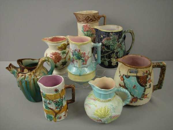 """1: Majolica  Lot of 8 pitchers, 7 1/2"""" various conditio"""