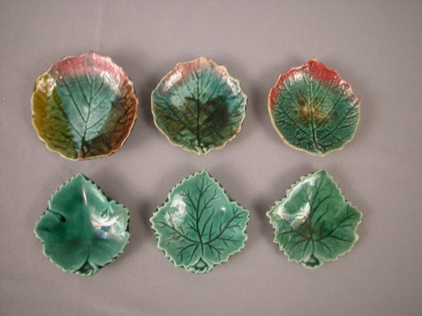 2: Majolica  Lot of 6 butter pats, various condition