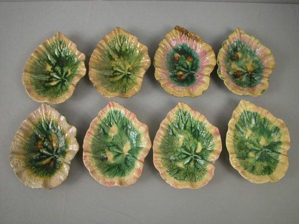 "5: Majolica  ETRUSCAN lot of 8-9"" begonia dishes, vario"