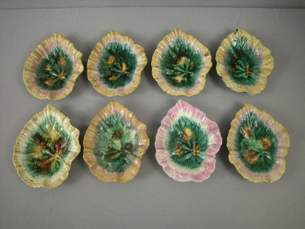"6: Majolica  ETRUSCAN lot of 8-9"" begonia dishes, vario"