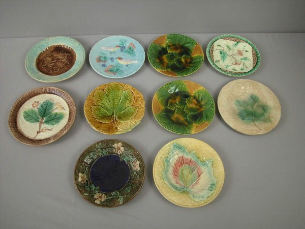 7: Majolica  Lot of 10 plates, various patterns and con