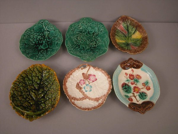 12: Majolica  Lot of 6 trays, various patterns and cond