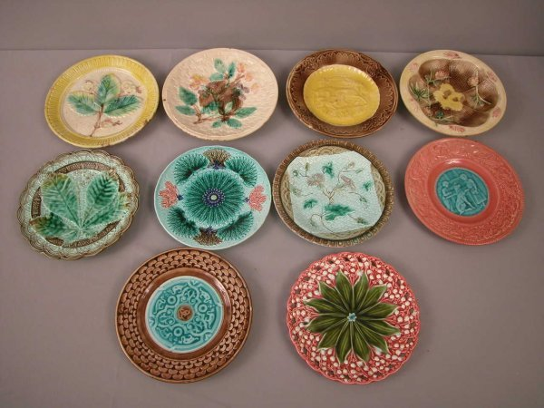 15: Majolica  Lot of 10 plates, various patterns and co