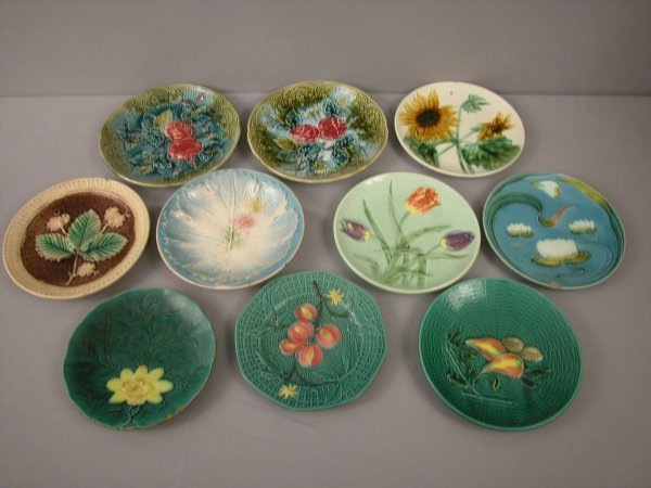 16: Majolica  Lot of 10 plates, various patterns and co