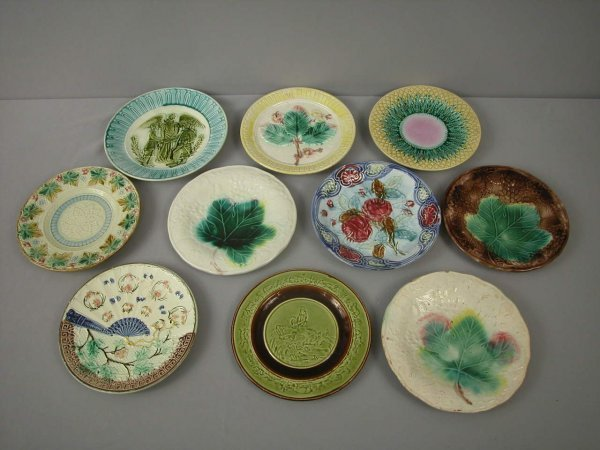 17: Majolica  Lot of 10 plates, various patterns and co