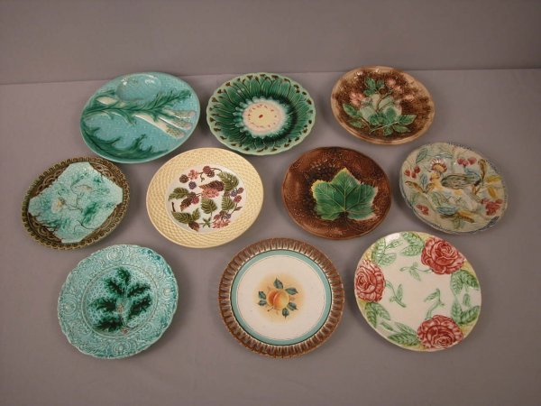 18: Majolica  Lot of 10 plates, various patterns and co