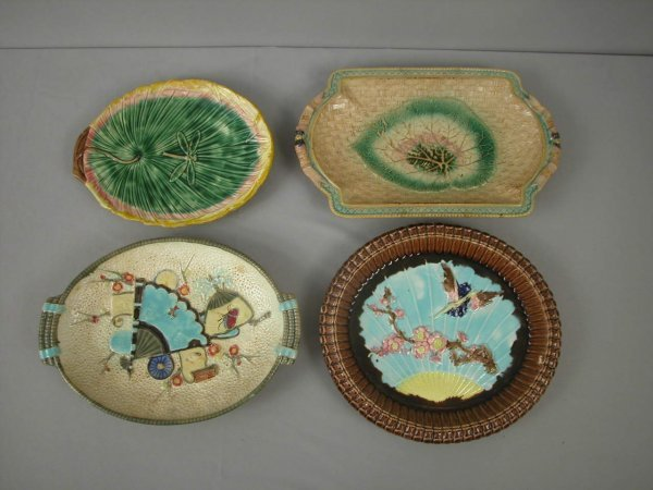 19: Majolica  Lot of 4 platters and trays, various cond