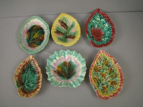 21: Majolica  Majolica lot of 6 leaf trays and platters