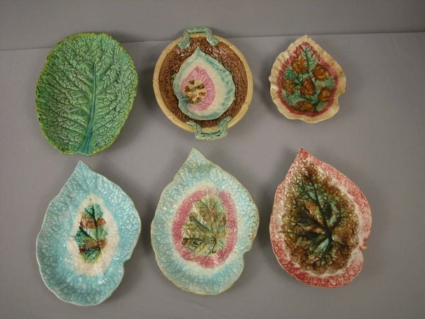 22: Majolica  Majolica lot of 6 leaf trays and platters