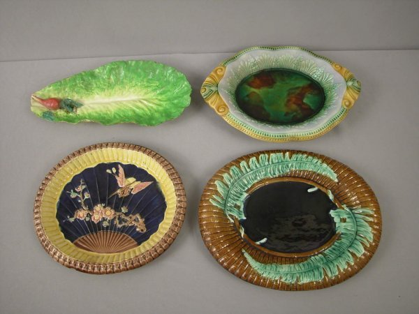 24: Majolica  Lot of 4 platters and trays, various cond