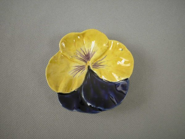 505: Majolica  COPELAND cobalt and yellow pansy butter