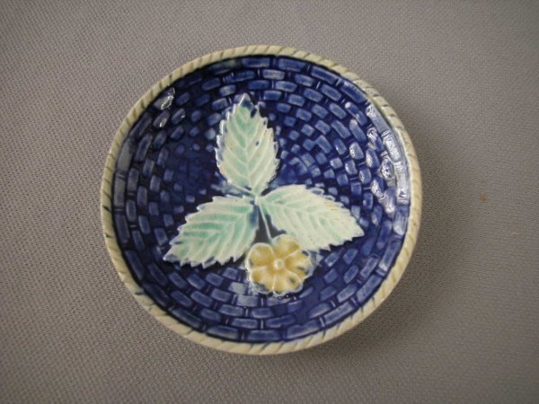 510: Majolica  Cobalt basketweave and floral butter pat