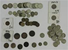 US coin lot: 2 Barber quarters, 13 silver
