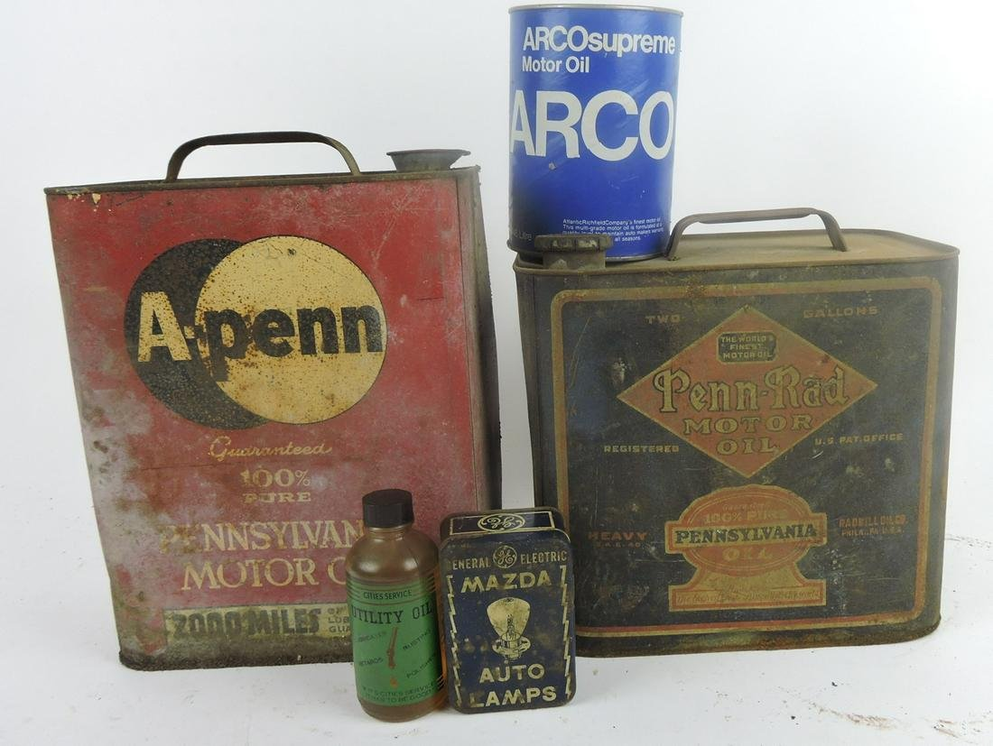 Lot of 4 oil cans/bottles and tin Mazda