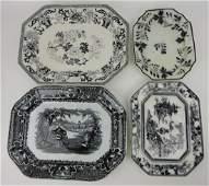 Mulberry transferware lot of 4 platters,
