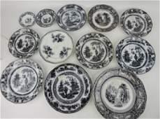 Mulberry transferware lot of 12 plates,