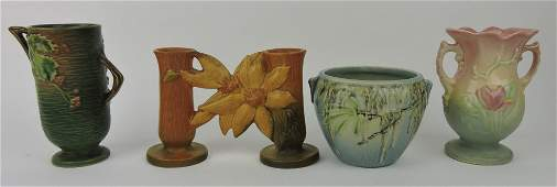 Lot of 4 pieces art pottery: Roseville