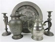 Pewter lot of 5 pieces early 16 tray