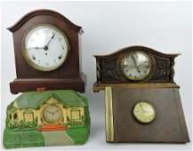 Lot of 4 clocks: Seth Thomas mantle clock,