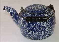 Cast iron blue and white graniteware