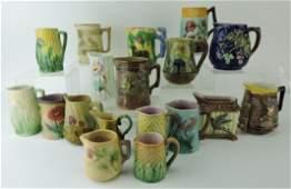 Majolica lot of 18 cream pitchers,