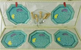 Majolica dessert set in presentation