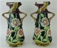 Majolica pair of Art Nouveau floral vases,