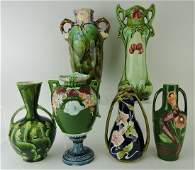 Majolica lot of 6 Art Nouveau vases,