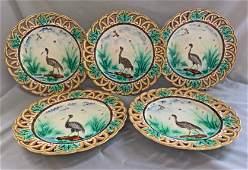 Wedgwood majolica set of 5 heron