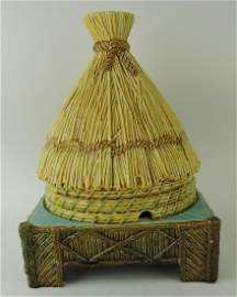George Jones majolica thatched hut