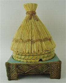 George Jones majolica thatched hut