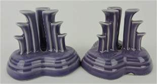 Fiesta Post 86 pair pyramid candle holders,