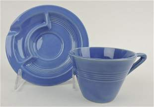 Fiesta Harlequin saucer ashtray and cup,