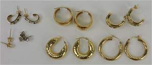 14kt yellow gold lot of 7 pair earrings,