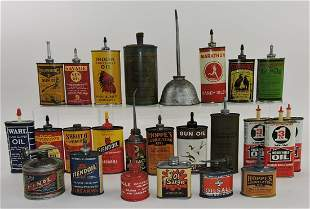 Lot of 25 handy oil cans with advertising,