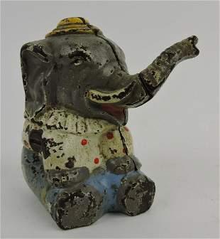 "Circus elephant cast iron still bank, 4"""