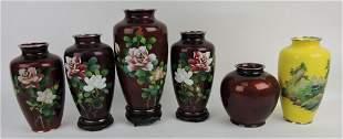 Japanese lot of 6 cloisonne vases