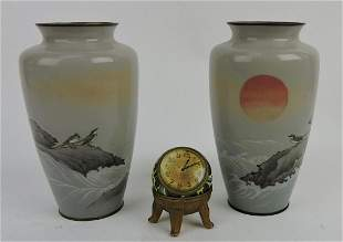 Japanese pair of enameled vases,