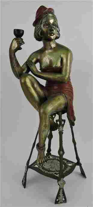 Brass semi nude sculpture of lady on