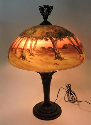 Table lamp with reverse painted shade,
