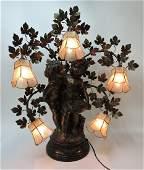 Bronzed spelter figural 6 lite lamp